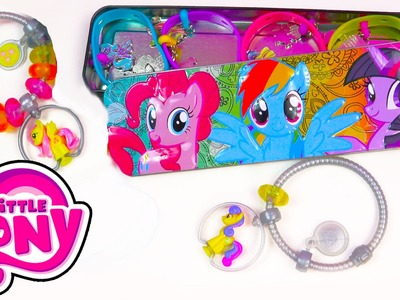 My Little Pony Case Tin Charmlings and Bracelet MLP Squishy Pops Jewelry Toy Holder Unboxing