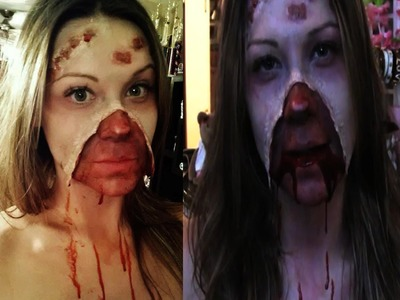 Ripped Open Face- Special Effects Halloween Tutorial 2013