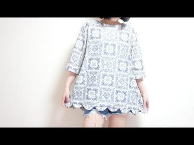 Sewing + Refashion Dress to Scallop Hem Tunic