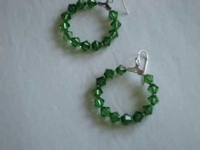 Swarovski fern green dangle hoop earrings