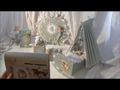 Little Darlings cradle with mini album.   music box. tri shutter card, clock and   baby powder box.