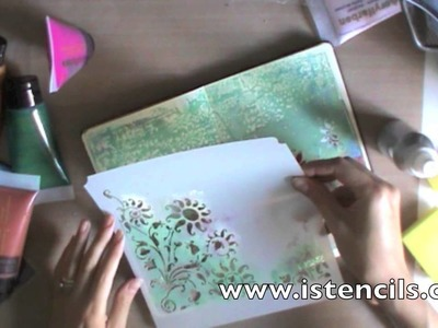 Mix media tutorial:Art Journal with gelli plate - Moleskine pages -