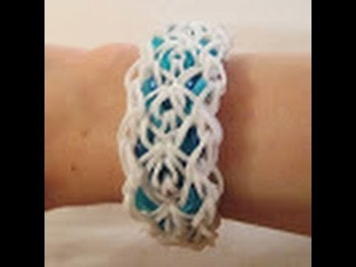 Rainbow Loom- How to make a Graceful Lace Bracelet (Variation of the Triple Link Chain)