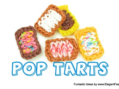 Rainbow Loom POP tarts charms(Loomless) - How to Loomless - Food Series Loom Bands tutorial