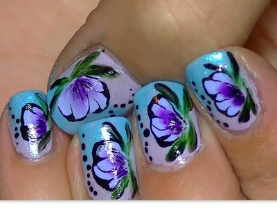 Short Nail art ,One Stroke Technique VIDEO TUTORIAL