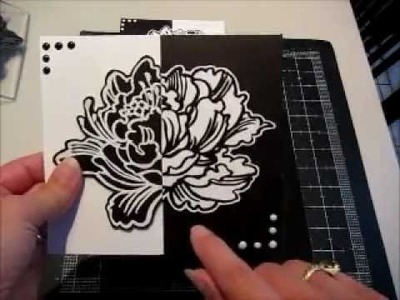 Split Negative Card Using the Stampendous Jumbo Peony Stamp