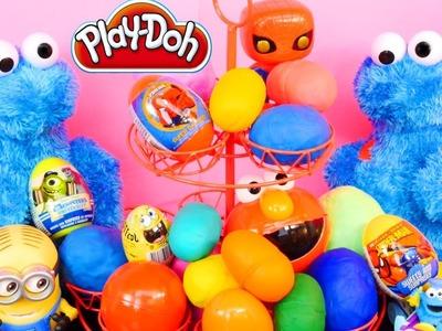 20 Surprise Eggs Play Doh Cookie Monster Cars Spiderman Spongebob Angry Birds Lego Disney Egg Toys