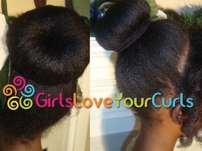 ♥ 34 ♥ Ballet Bun on Natural Hair with Curl Former Fringe