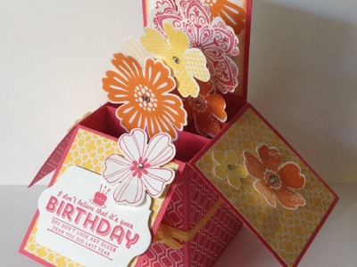 3D Folding Box Card with Giftcard Insert using Stampin' Up! products