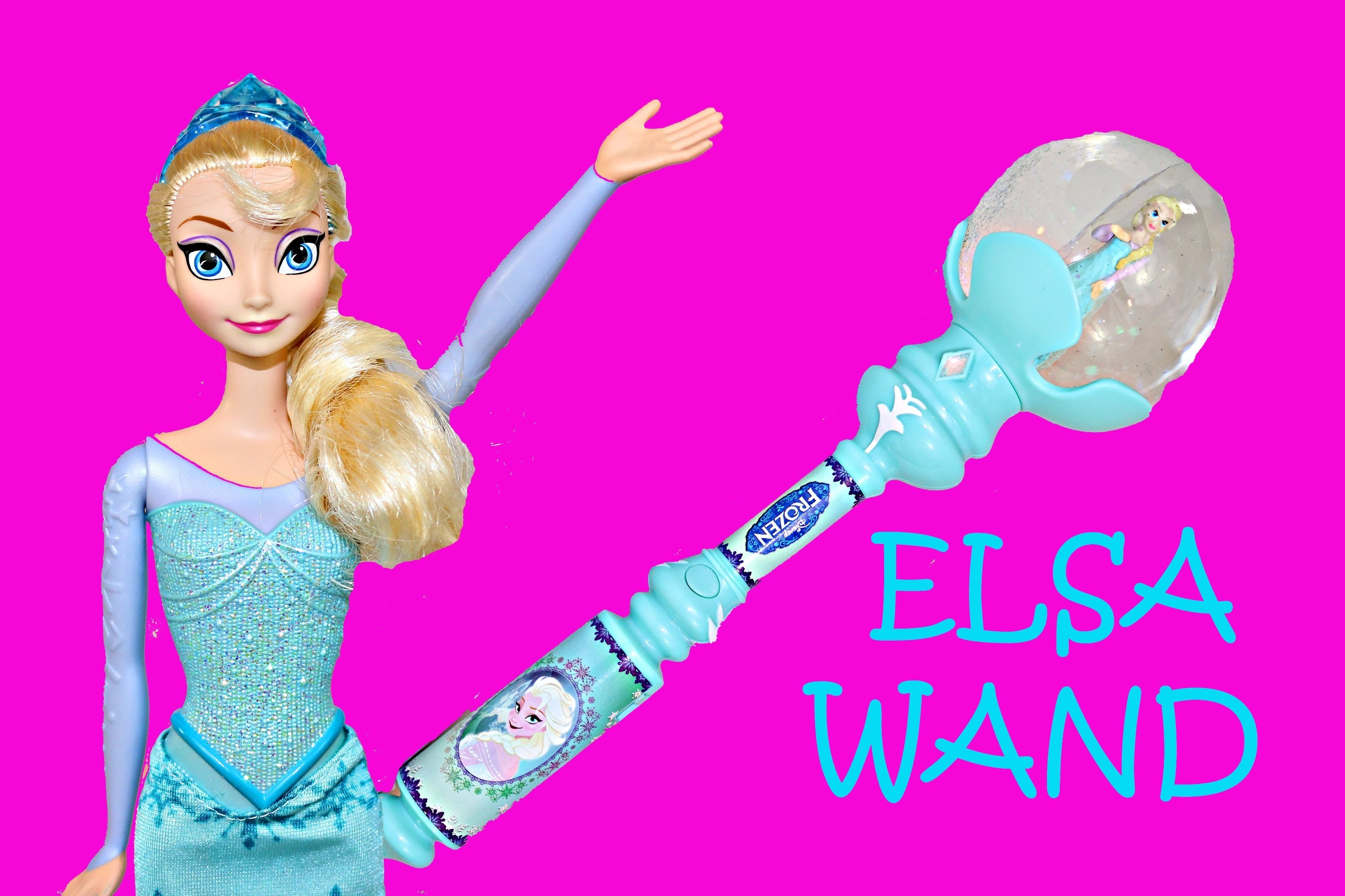 Frozen Elsa Musical Snow Wand Let It Go Song and Elsa Barbie Doll Toy Review