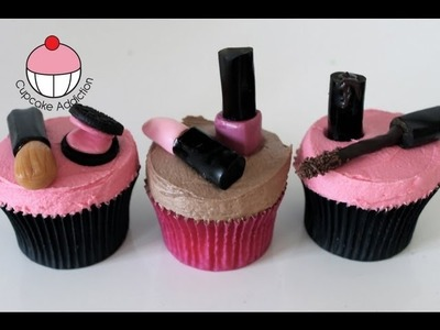 Makeup Cupcakes! Decorate Cosmetic Accessory Cupcakes - A Cupcake Addiction How To Tutorial