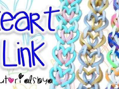 NEW Heart Link Rainbow Loom Bracelet Tutorial | How To