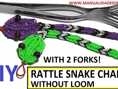 Rattle snake charm with two forks without Rainbow Loom Tutorial. (Mini Figurine)