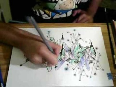Shading and coloring doodle drawing with watercolor pencils :Foxko Creates: