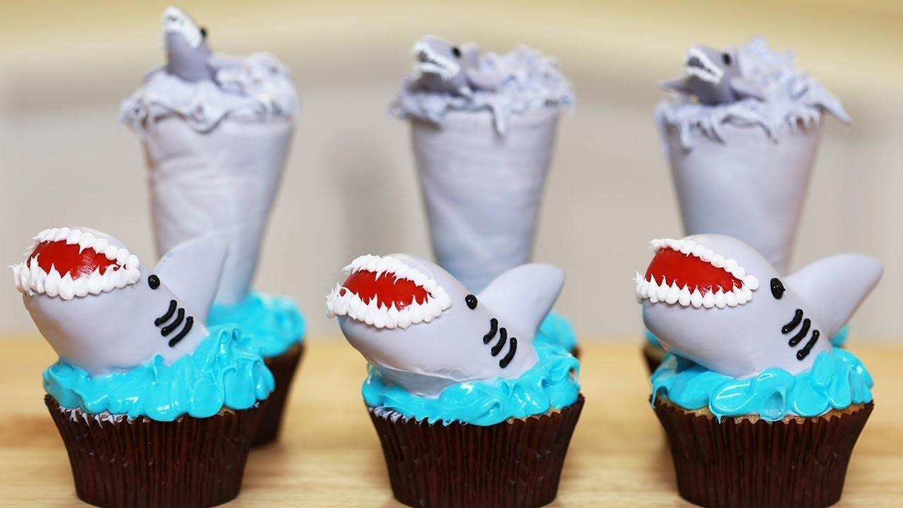 SHARKNADO CUPCAKES - NERDY NUMMIES - SHARK WEEK