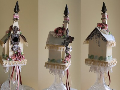 """Altered Birdhouse for """"A Thing for Bling Challenge"""""""