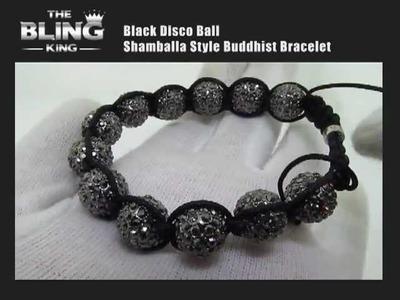 Black Disco Ball Buddhist Bracelet
