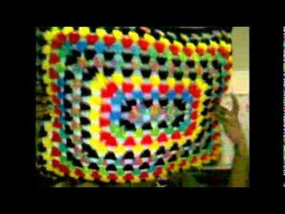 Pillow using rectangle granny square