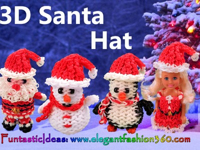 Rainbow Loom Santa Hat for Snowman.Penguin.Snata Claus.Barbie 3D - How to Loom Bands tutorial