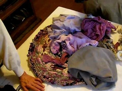 Toothbrush rugs: Me and my mother planning out the colors for a very unusual rug.   the