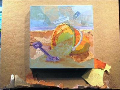 Torn Paper Painting - Golden Bucket