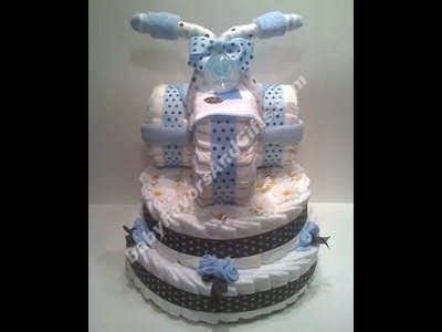 Tricycle diaper cake, baby shower gift ideas