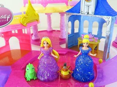 Disney Princess Glitter Glider Castle Playset Magiclip Flip N Switch Dolls Cinderella & Rapunzel!