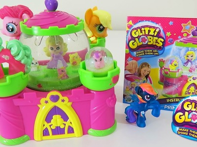 Glitzi Globes Princess Castle Playset with MLP My Little Pony Pinkie Pie Apple Jack Flower Wishes!