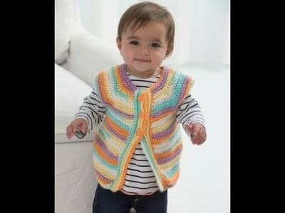 How to Crochet - One skein Baby Vest (Lion Brand pattern)  Video One