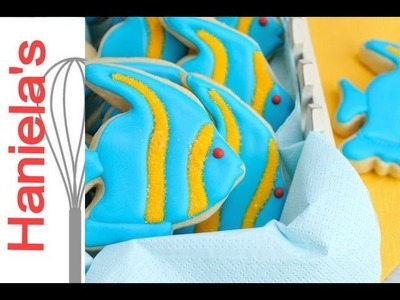 How to Decorated Simple Fish Cookies,Tutorial on How To Apply Sanding Sugar On Cookies