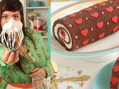 How to Make Heart Cake Roll-Chocolate Cake Roll filled with Whipped Ganache Recipe