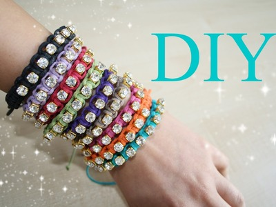 How To Make Macrame Bracelet with Rhinestone Chain. Como fazer Bracelete de Macramê com Strass