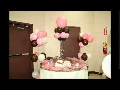 Pink, Chocolate Brown and White Baby Bottle Balloon Decorations