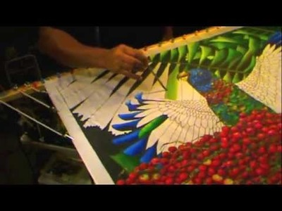 SILK PAINTING WITH JEAN-BAPTISTE - SAINT LUCIA PARROT
