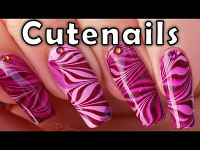 Water marble nail art : cute pink. purple zebra nails