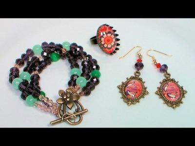 Boho Style Multi-Strand Bracelet, Earrings and Ring Tutorial