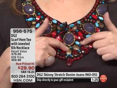 DG2 Scarf Hem Tee with Jeweled Bib Necklace