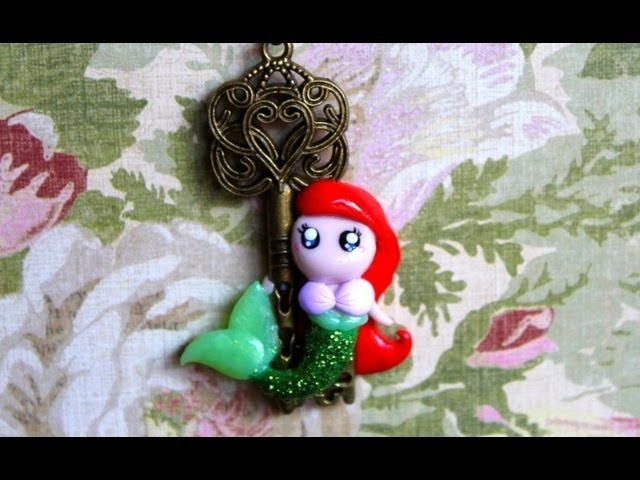 DIY Ariel Mermaid Key Necklace Polymer Clay Pendant Tutorial