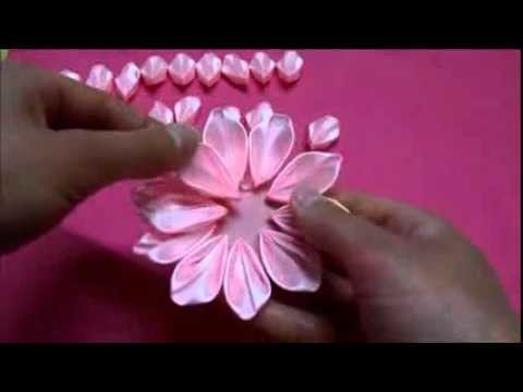 DIY Kanzashi flower,ribbon flower tutorial,how to,easy,kanzashi flores de cinta