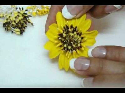 DIY: Polymer clay-italian dough Sunflowers. Clay vase arrangment