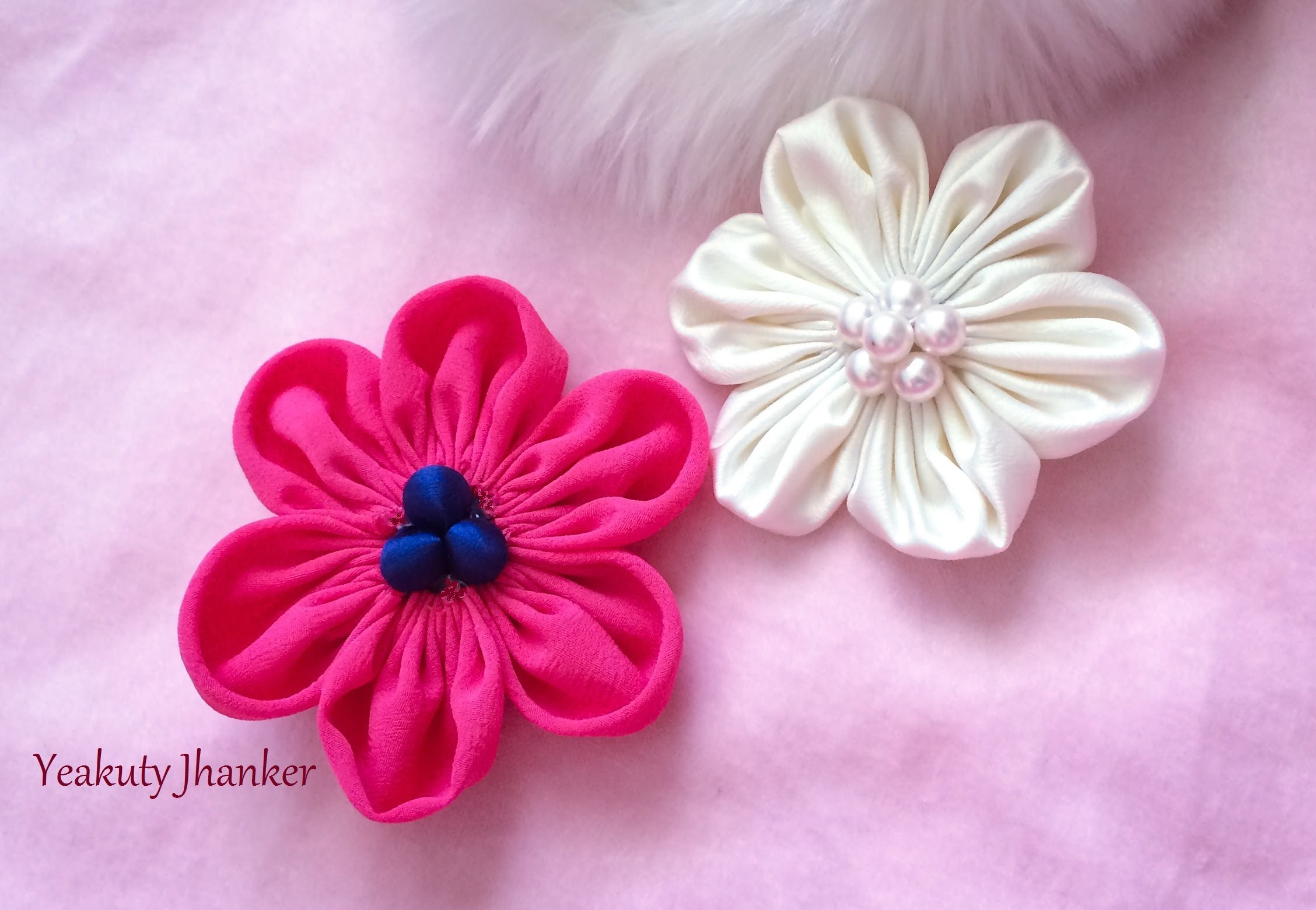 DIY: Six petal Kanzashi fabric flower hair clip.