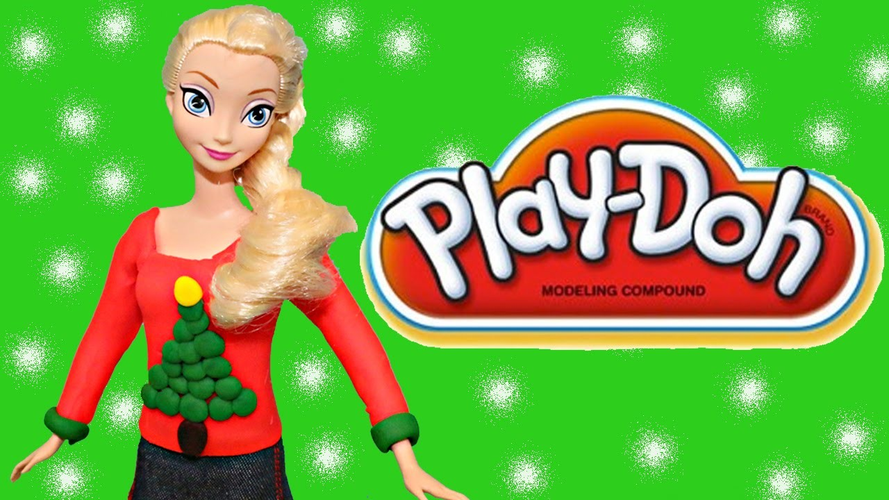 Frozen Play Doh Elsa Ugly Christmas Sweaters Anna at the Moxie Girlz Snow Cabin Playdough Video