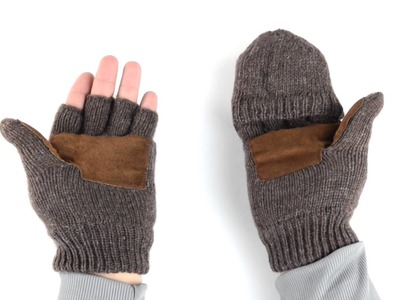 Grand Sierra Ragg Wool Mittens - Convertible Fingerless Gloves, Thinsulate®, Suede Palm (For Men)