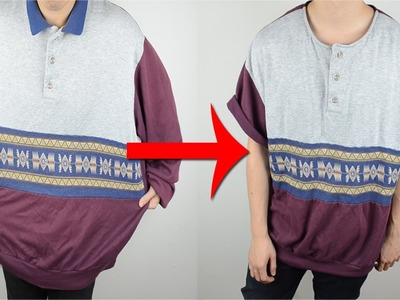 KAD Transformation #2:  Oversized sweater to Short-sleeve henley tee