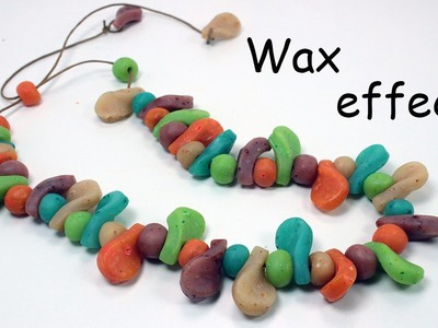 Polymer clay translucent beads with wax crayon