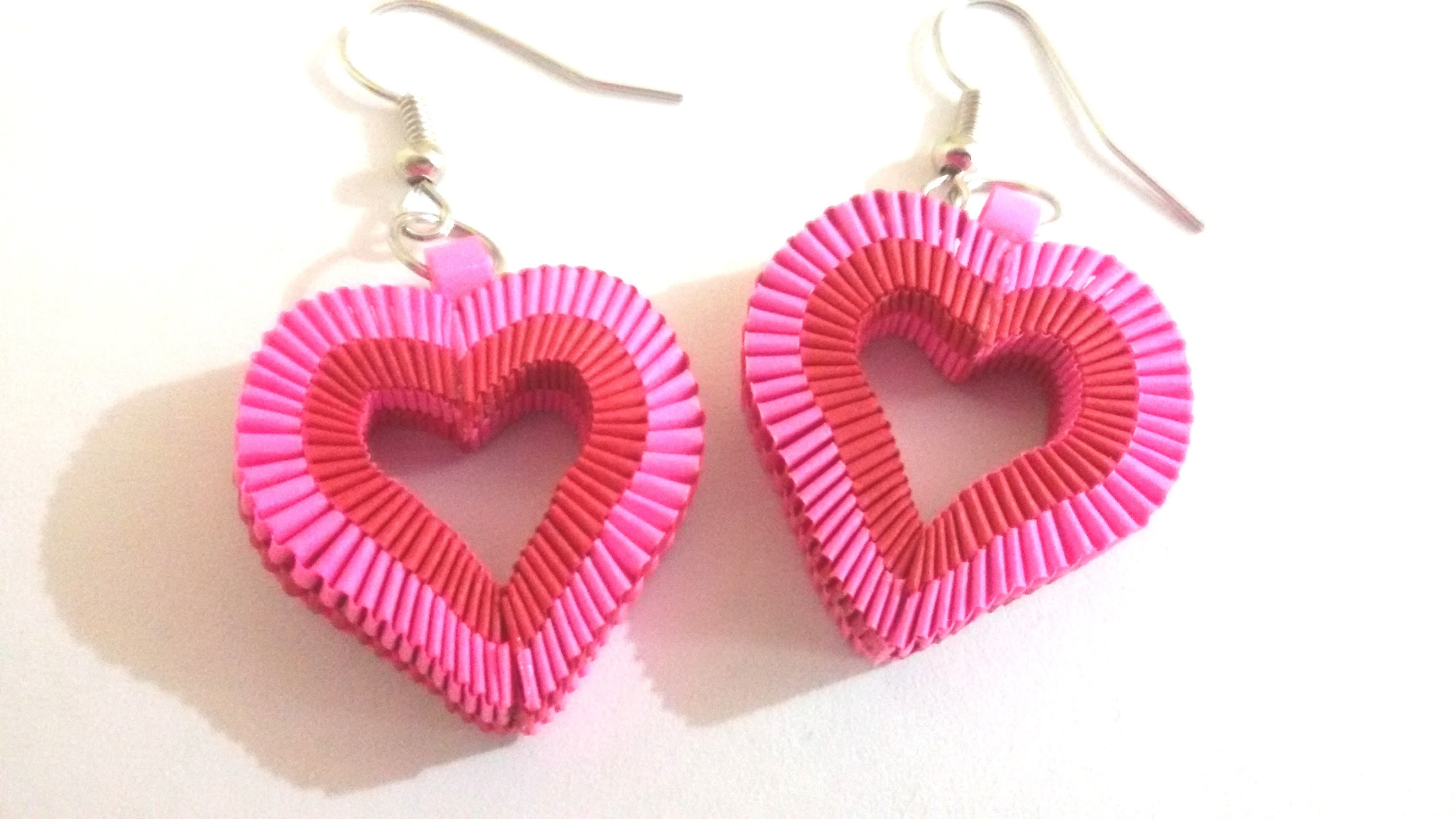 6. How to make Paper Weaving Heart Shape Earrings
