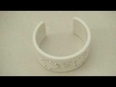 D & G White Resin Bangle  Cuff  Bracelet eBay listing by Alchemistic