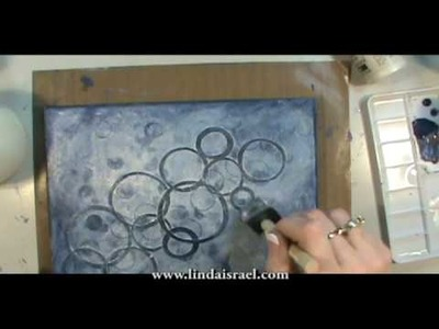 How I used Acrylic Paint,  Blue Paper Circles and stamps on Canvas