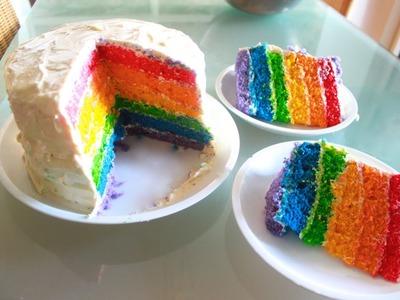 HOW TO MAKE RAINBOW CAKE (SIX LAYER)