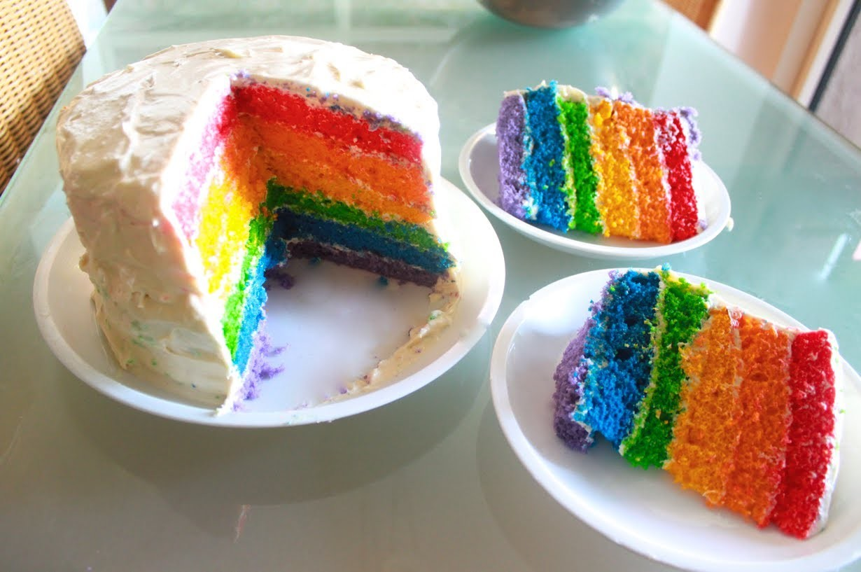 HOW TO MAKE RAINBOW CAKE (SIX LAYER)